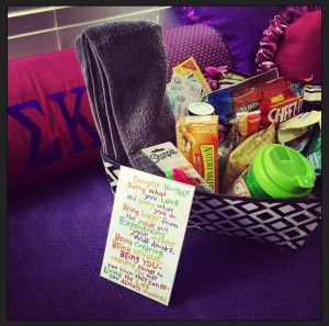 Welcome basket from the Epsilon Zeta Corporation Board
